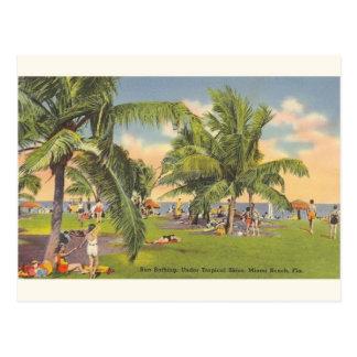 Vintage Sun Bathing Miami Beach Florida Postcard