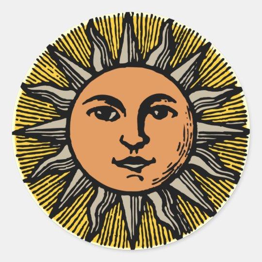 vintage sun face classic round sticker zazzlecom