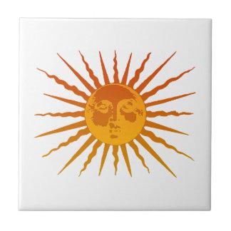 Vintage Sun Face Icon Tile