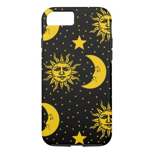 Vintage Sun Moon Stars Pattern iPhone 8/7 Case