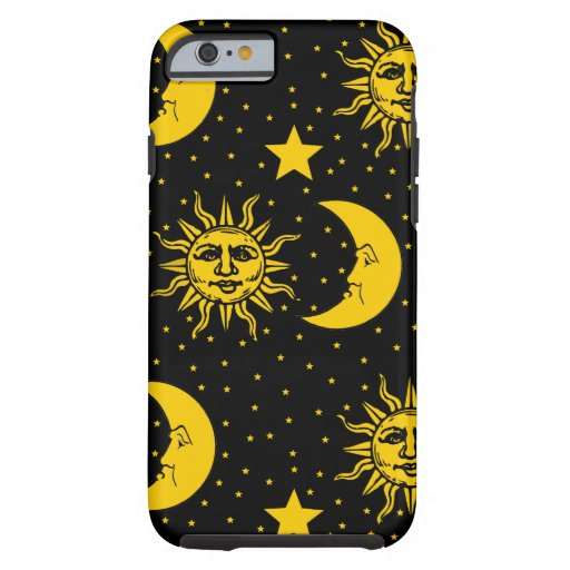 Vintage Sun Moon Stars Pattern Tough iPhone 6 Case