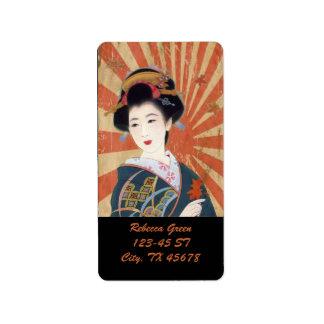 Vintage Sun Rays Japanese Geisha Retro Personalized Address Label