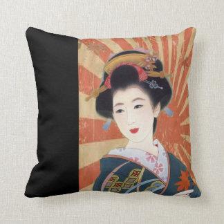 Vintage Sun Rays Japanese Geisha Retro Throw Pillow