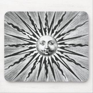 Vintage Sun/Solar Illustration, Black & White Mouse Pad