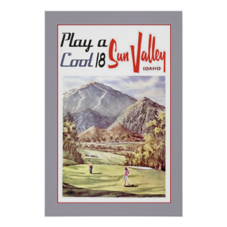 Vintage Sun Valley Golf Sports Travel Retro Poster