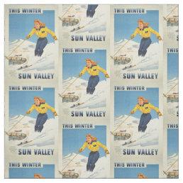 Vintage Sun Valley, Idaho customizable fabric