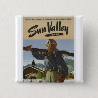 Vintage Sun Valley Idaho Skier Pinback Button