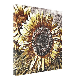 Vintage Sunflower artwork #4 - Wrapped canvas