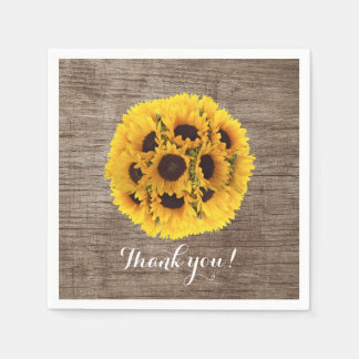 Vintage Sunflower Barn Wood Wedding Thank You Paper Napkin