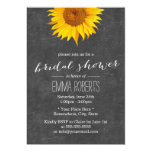 Vintage Sunflower Chalkboard Bridal Shower 5x7 Paper Invitation Card