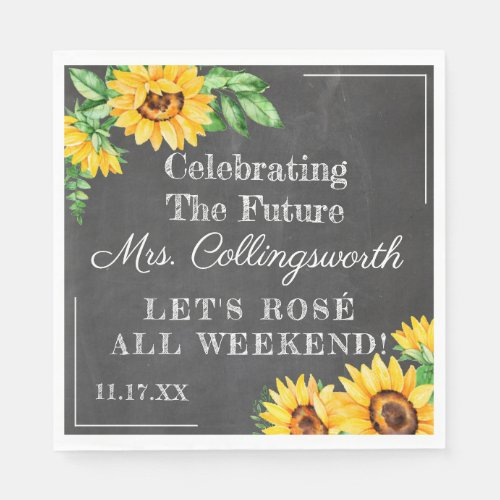 Vintage Sunflower Chalkboard Look Bridal Shower Napkin.Watercolor Sunflowers On Chalkboard Look Background