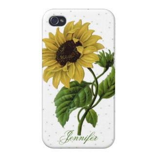 Vintage Sunflower & custom Name iPhone 4/4S Case
