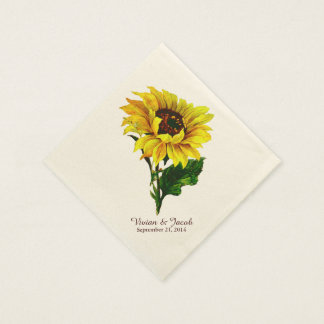 Vintage Sunflower Custom Wedding Napkins Paper Napkins