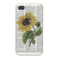 Vintage Sunflower Dictionary Print Iphone Case iPhone 4 Cover