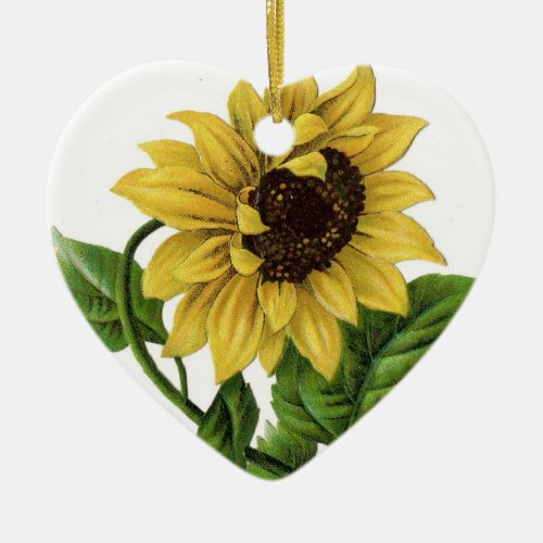 Vintage Sunflower Drawing Ceramic Ornament