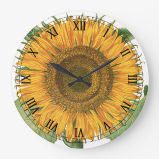 Vintage Sunflower Flower by Basilius Besler Large Clock