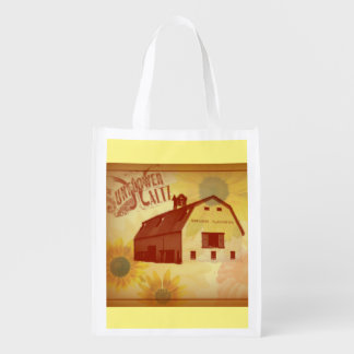 Vintage Sunflower Foldable Tote Grocery Bags