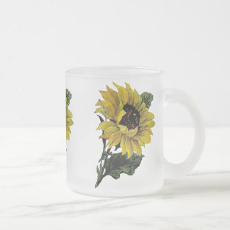 Vintage Sunflower Frosted Glass Coffee Mug