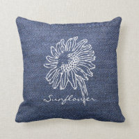 Vintage Sunflower illustration blue denim jeans Throw Pillow