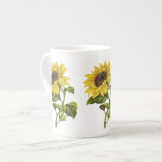 Vintage - Sunflower Illustration Tea Cup