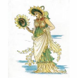 Vintage Sunflower Lady Cutout