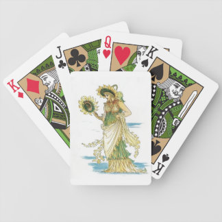 Vintage Sunflower Lady Goddess Playing Cards