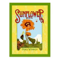 Vintage Sunflower Music Postcard