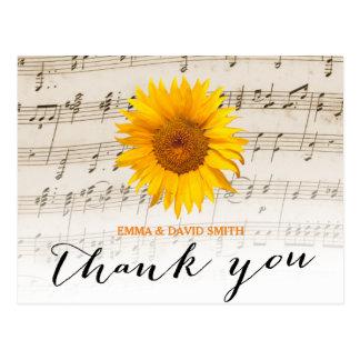 Vintage Sunflower & Music Sheet Wedding Thank You Postcard