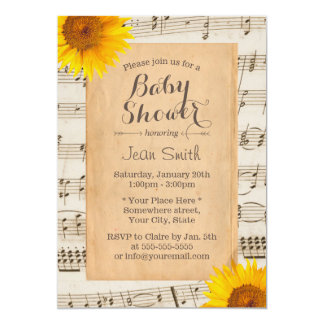Vintage Sunflower & Old Music Sheet Baby Shower 5x7 Paper Invitation Card