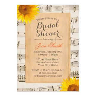Vintage Sunflower & Old Music Sheet Bridal Shower Card