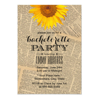 Vintage Sunflower Old Newspaper Bachelorette Party Card