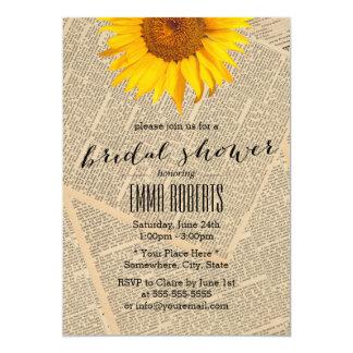 Vintage Sunflower Old Newspaper Bridal Shower Card