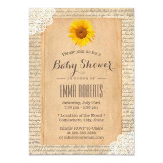 Vintage Sunflower Old Script Paper Baby Shower Card