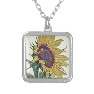 Vintage Sunflower Original Shabby Old School Look Silver Plated Necklace
