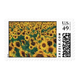 Vintage Sunflower painting art postage