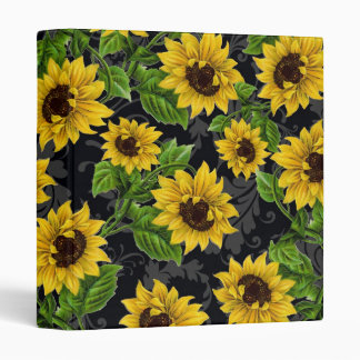 Vintage sunflower pattern 3 ring binder