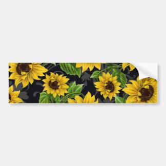 Vintage sunflower pattern car bumper sticker