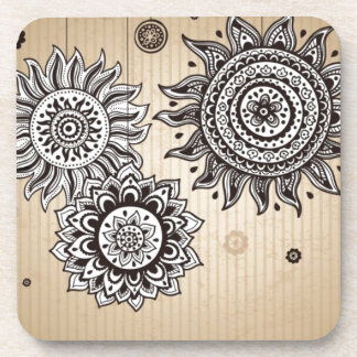 Vintage sunflower pattern drink coaster