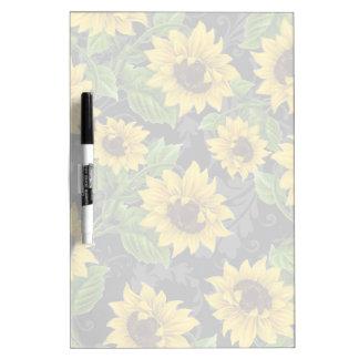 Vintage sunflower pattern dry erase white board