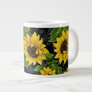 Vintage sunflower pattern giant coffee mug