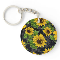 Vintage sunflower pattern keychain