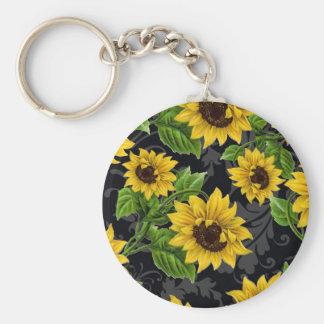 Vintage sunflower pattern key chains
