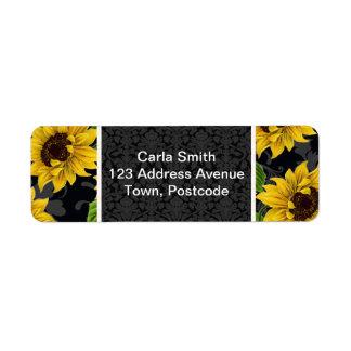 Vintage sunflower pattern label