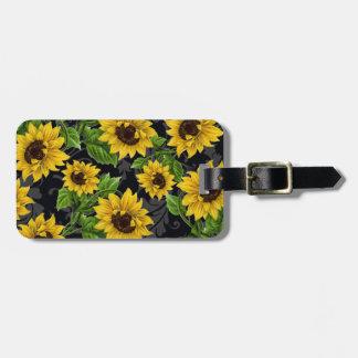 Vintage sunflower pattern bag tag