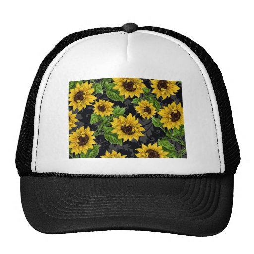Vintage sunflower pattern mesh hat