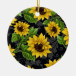 Vintage sunflower pattern Double-Sided ceramic round christmas ornament