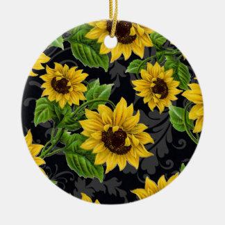 Vintage sunflower pattern christmas ornaments