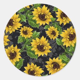 Vintage sunflower pattern round stickers