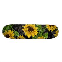 Vintage sunflower pattern skateboard