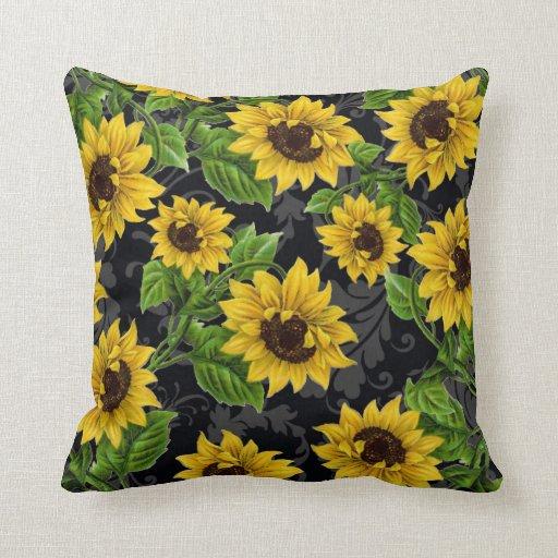 Vintage sunflower pattern throw pillow Zazzle